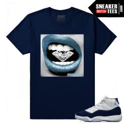 Jordan 11 Midnight Navy Sneaker tees Diamond Lips