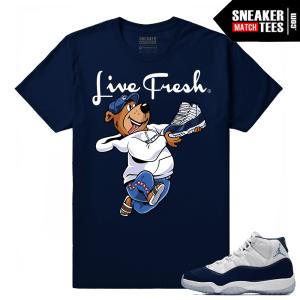 Jordan 11 Midnight Navy Sneaker tees Live Fresh Yogi