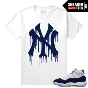 Jordan 11 Sneaker tees Midnight Navy White T shirt NY Drip