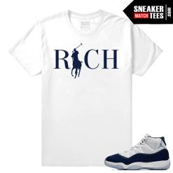 Jordan 11 Sneaker tees Midnight Navy White t shirt Country Club Rich