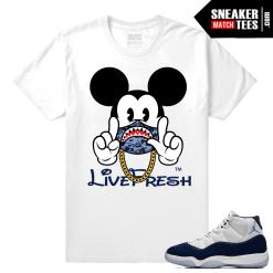Jordan 11 Sneaker tees matching White T shirt Mickey 11s up