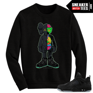 Kaws Jordan 4 Black Crewneck Sweater Live Fresh Kaws