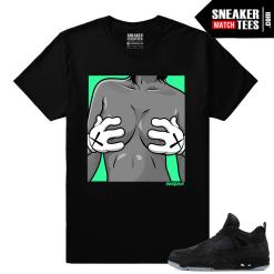 Kaws Jordan 4 Black Sneaker tees Kaws Hands