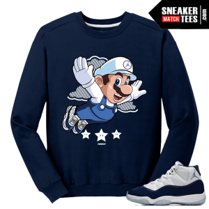 Midnight Navy 11 Crewneck Sweater Navy Mario Fly