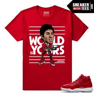 Jordan 11 Win Like 96 T shirt Red Montana Fresh