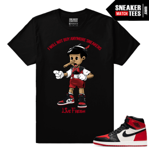 Jordan 1 Bred Toe Sneaker tees Black Live Fresh Pinocchio