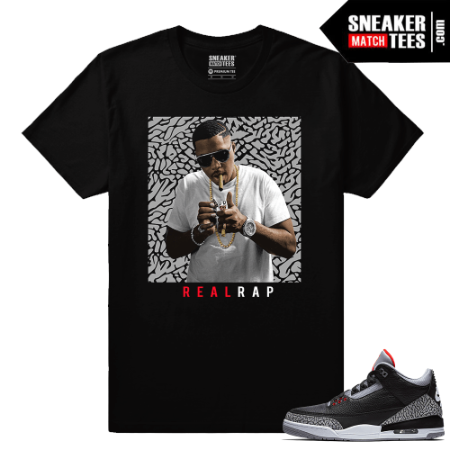 Jordan 3 Black Cement Sneaker tees Nas Real Rap
