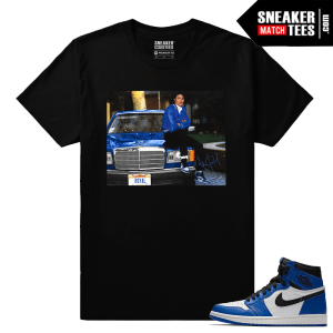 Jordan 1 Game Royal Sneaker Match Tees Black MJ x Game Royal