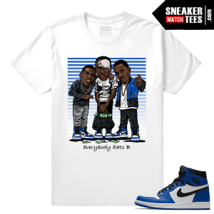 Jordan 1 Game Royal Sneaker Match Tees White Everybody eats B