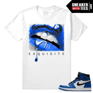 Jordan 1 Game Royal Sneaker Match Tees White Exquisite Lips