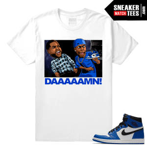 Jordan 1 Game Royal Sneaker Match Tees White Friday Daaaamn