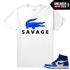Jordan 1 Game Royal Sneaker Match Tees White Savage