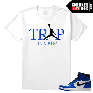 Jordan 1 Game Royal Sneaker Match Tees White Trap Jumpin