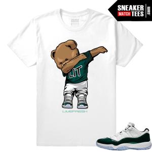 Jordan 11 Low Emerald Sneaker Match Tees White Dabin Polo Bear