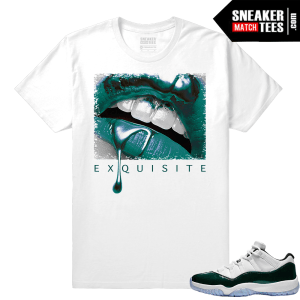 Jordan 11 Low Emerald Sneaker Match Tees White Exquisite Lips
