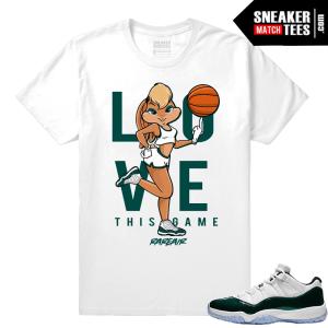 Jordan 11 Low Emerald Sneaker Match Tees White Love This Game