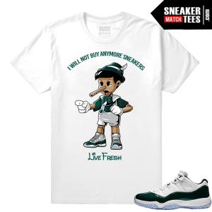 Jordan 11 Low Emerald Sneaker Match Tees White Sneakerhead Pinnochio