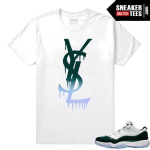 Jordan 11 Low Emerald Sneaker Match Tees YSL Drip