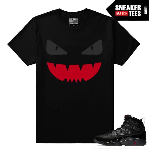 Jordan 9 Bred Sneaker Match Tees Black Designer Monster