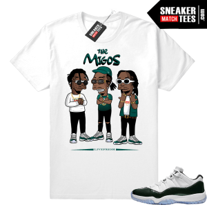 Migos t shirt White Emerald 11 lows