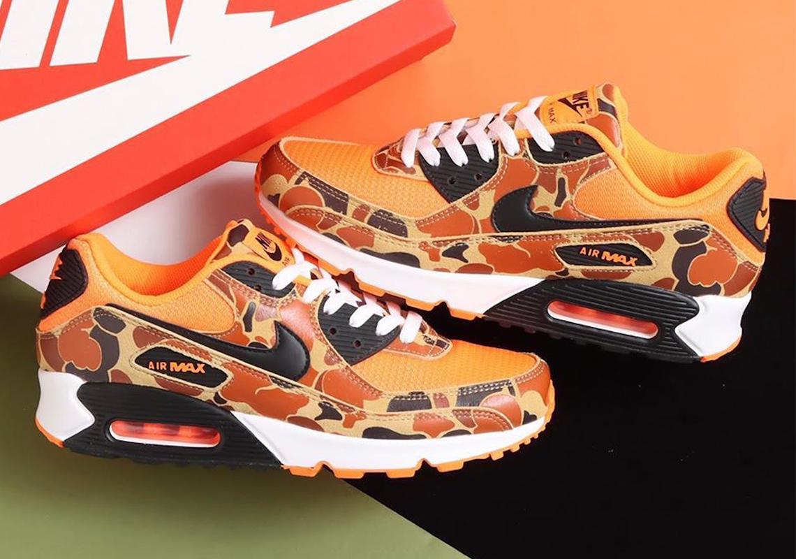 Nike Air Max 90 Orange Camo CW4039 800 Store List Crumpe