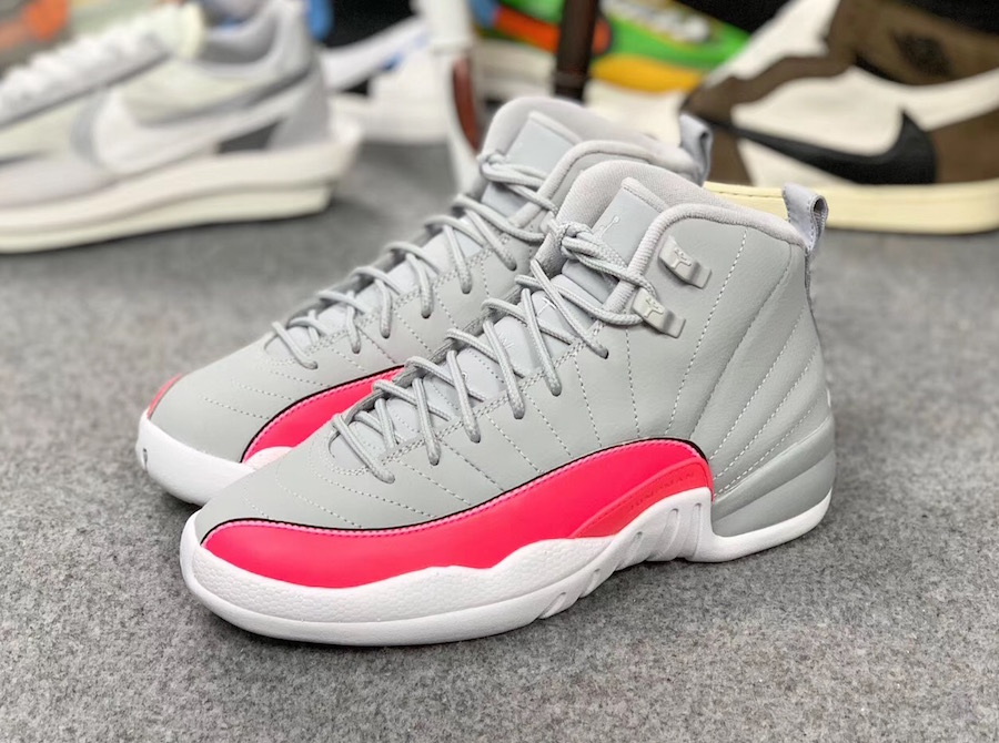 3b99f0f4637f05 Grey Pink Air Jordan 12 GS