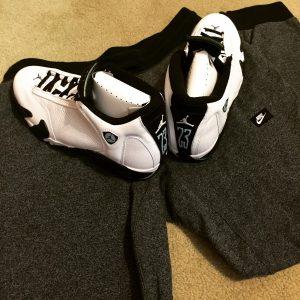 J 14's and Sweat pants