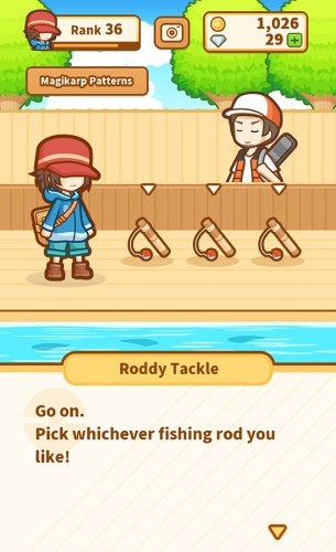 Pokemon Magikarp Jump - Go on. Pick whatever fishing rod you like.
