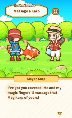 Pokemon Magikarp Jump - I've got you covered. Me and my magic finger'll massage that Magikarp of yours!