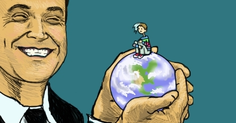 An illustration of Robbie Williams, musician and entertainer, holding the whole world. Amandoll sits atop the globe, looking at him as he smiles at the camera -- or I guess at the illustrator.