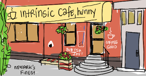 "An exterior view of the Intrinsic Cafe of Newark, New Jersey. Which is: red brickexterior, some hanging flowers and a little bench. Semi-circular 3 step staircase leading to the entrance. A big awning sign that says ""intrinsic cafe, hunny"" -- the artist's embellishment."