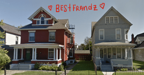"Google street view of neighboring houses. On the right is the wooden blue house with white trim that is the subject of this article. On the left is a rather larger red brick house with white accents. Above them is written ""Best Friends"" with hearts around it."
