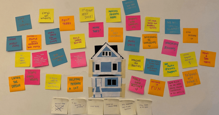 "There is a construction paper and masking tape depiction of the blue house of this article. Surrounding it are 36 post it notes, each listing a positive gain from buying the house. These notes say everything from ""living the dream"" to ""corgi on wheels"" to ""no bad neighbors."""
