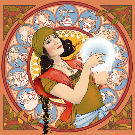 Art Nouveau illustration of a coy woman with long dark hair and late 1800s era clothing suggesting that she is a fortune teller: olive green headscarf with bangles on it, a red vest, olive green shirt and a hip scarf of sky blue. In her hands is a glowing orb with electricity coming off of it.  The background is of the zodiac signs as circles, in a circular pattern. Everything is colored in salmon pink, cornflower blue, harvest yellow, cranberry red, and late summer leaves.