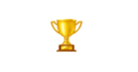 Magnified emoji of a trophy.