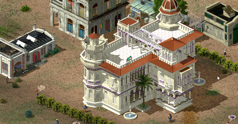 Game scene of a close up of my palace. I drew a very tiny version of myself on the rooftop, looking down. There are some decorative plants that I placed and a few squalid buildings in the background.