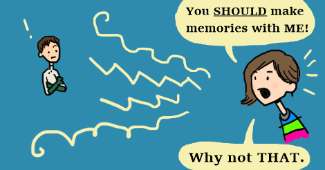 "A panel from the oncoming comic where Amandoll is saying to cchris, ""you should be making memories with me! Why not that!"""