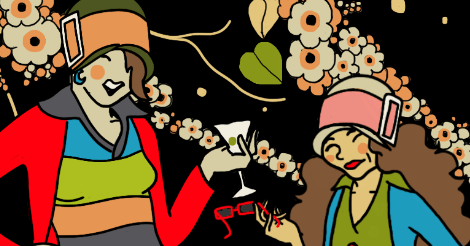 This is an up close crop of the illustration later. So it shows Amandoll and Dollissa in 1920s attire standing in front of tree blossoms.
