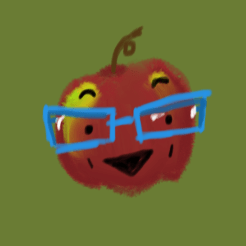 This is an undersized Macintosh apple wearing big blue glasses and giving off a charming, dimpled smile.