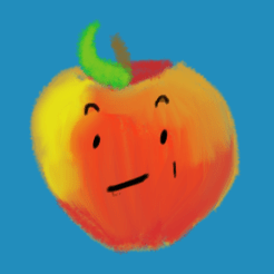 A yellowish pinkish reddish apple with a winning smirk and little flip quiff leaf in front.
