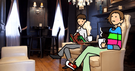 This is an image from the duck and bunny website, of their old interior. C Chris and Amandoll have been drawn lounging in the chairs. She is staring off, daydreaming. He is reading a book.