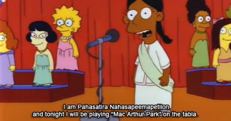 A still from the Simpsons from the episode of the Little Miss Springfield Pageant, where Pahasatira Nahasapeemapetilon is saying that she will perform MacArthur Park on the tabla.