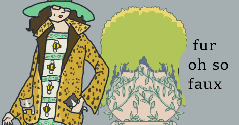 An art deco drawing of Dollissa from five years ago where she is seen wearing a leopard skin coat -- only we all know that it's faux because real fur is murder.