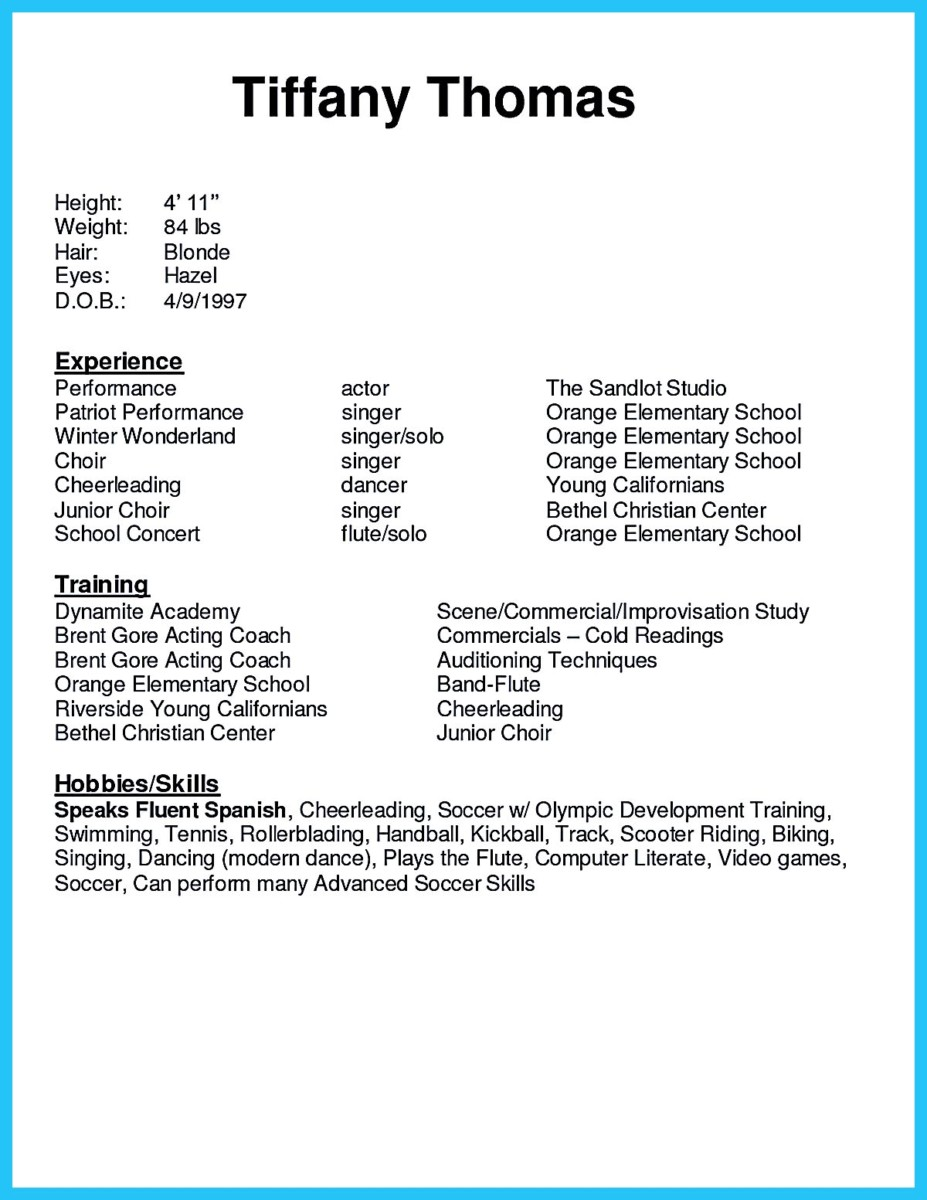 acting resume for beginners 324x420 acting resume format 324x420 - Resume Format For Actors