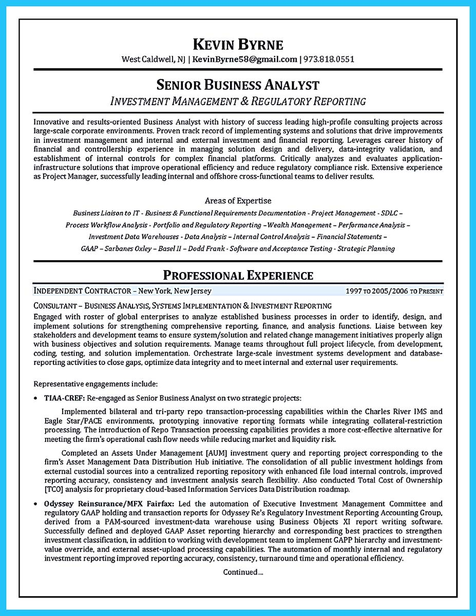 Financial Analyst Resume Sample Business Analyst Resume