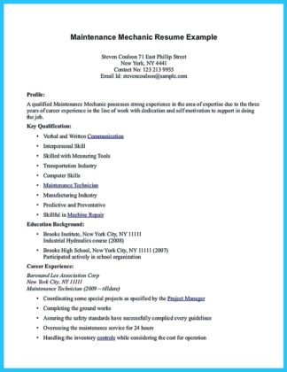 Auto Mechanic Resume Example - Cover Letters and Resume