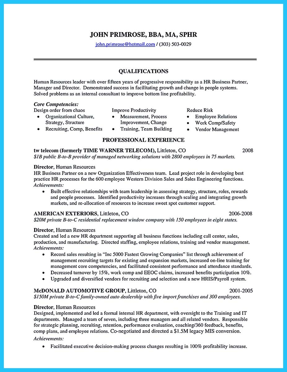 Human Resource Manager Resume - Oloschurchtp.com
