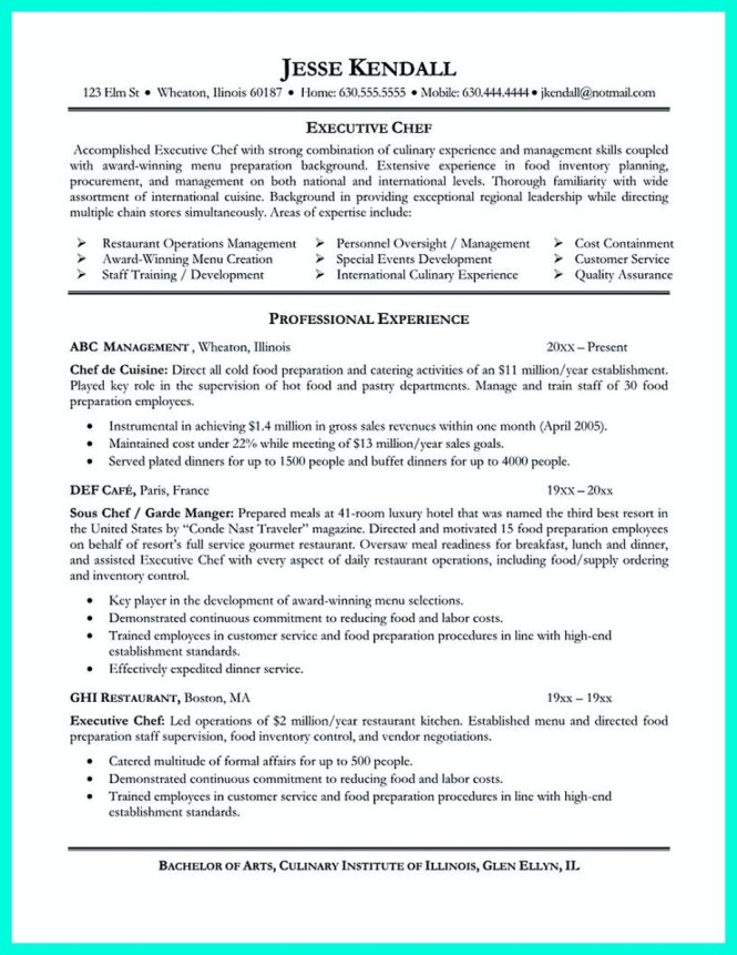 Executive Chef Resume Objective  Resume Sample