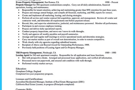 Free Professional Resume » property manager sample resume talented ...