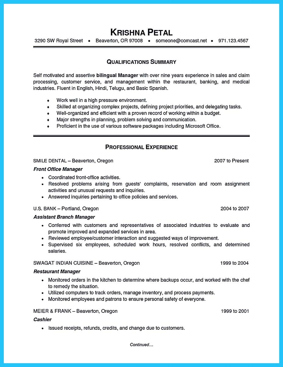 starting successful career from a great bank manager resume how